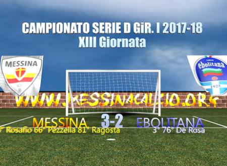 La sintesi della partita Messina-Ebolitata 3-2